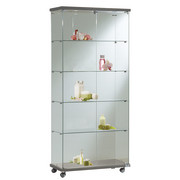 square glass cabinet with ceiling lightening
